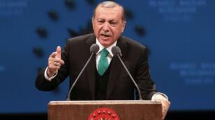 Le président turc Recep Tayyip Erdogan, lors d'un meeting à Ankara, le 23 mars 2017.