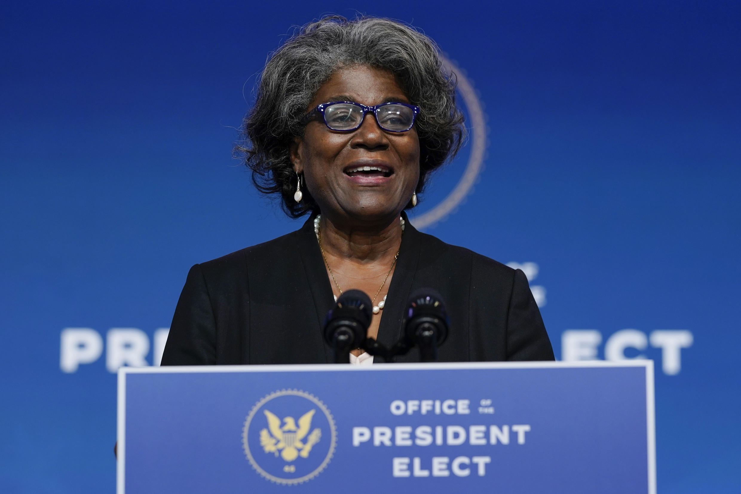 President-elect Joe Biden's U.S. Ambassador to the United Nations nominee Ambassador Linda Thomas-Greenfield speaks at The Queen theater, Tuesday, Nov. 24, 2020, in Wilmington, Del.