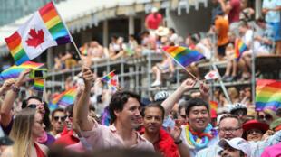 Justin Trudeau à la Toronto Pride en 2016.