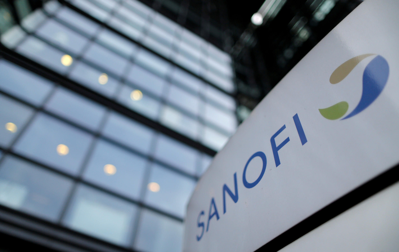 A Sanofi sign outside the French drugmaker's Paris headquarters.