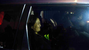 La candidate de droite Keiko Fujimori photographiée dans sa voiture à Lima, jeudi 9 juin 2016.