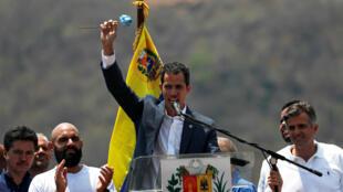 Juan Guaido, lors d'un discours à Valencia, au Venezuela, le 16 mars 2019.