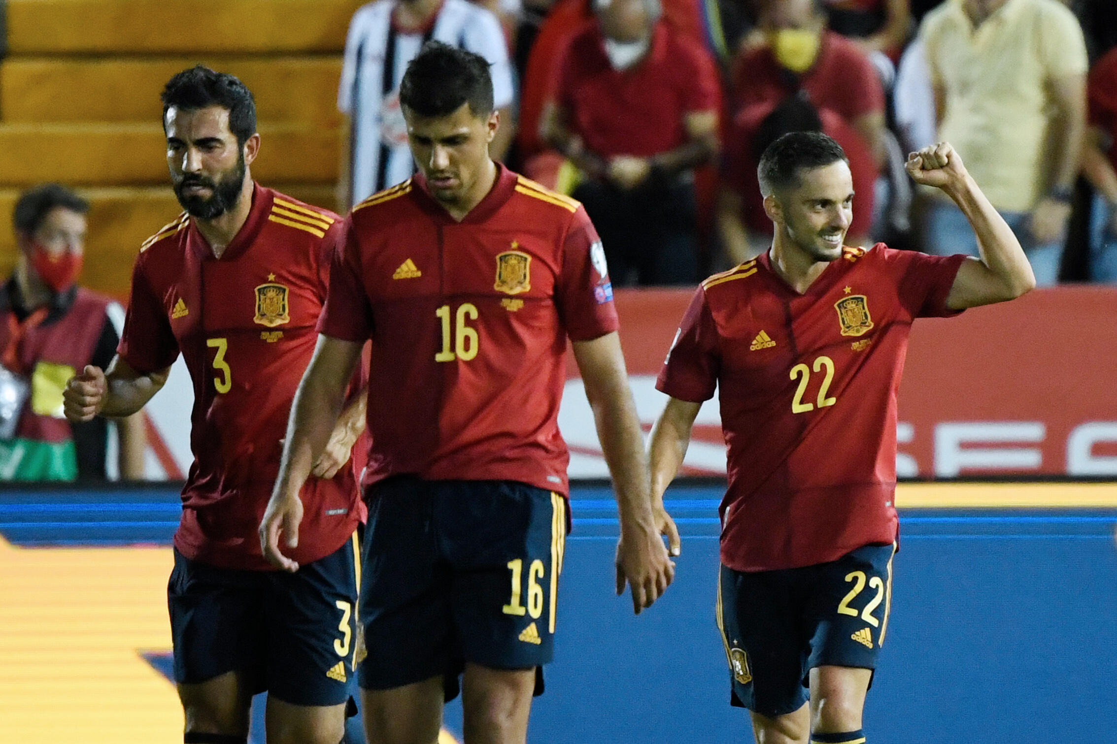 Pablo Sarabia (# 22) Celebrates His Goal With His Companions, Spain 4th, 4th against Georgia, September 5, 2021