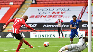 Sheffield United striker David McGoldrick scored in the win over Chelsea