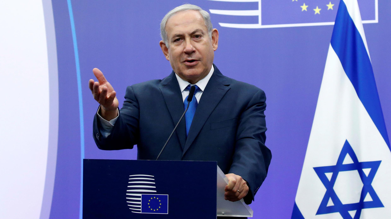 El primer ministro de Israel Benjamin Netanyahu se dirige a los medios en el Consejo Europeo de Bruselas. 11/12/2017