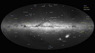 La cartographie d'un milliard d'étoiles dans la Voie lactée effectuée grâce aux observations de la sonde Gaïa.