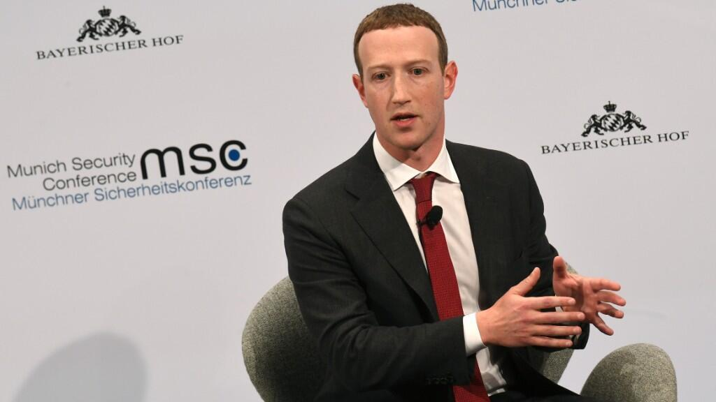 Mark Zuckerberg, director ejecutivo de Facebook durante la 56a Conferencia de Seguridad de Munich. 15 de febrero de 2020.