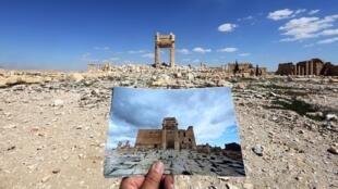 """جزء من الدمار الذي ألحقه تنظيم """"الدولة الإسلامية"""" بمدينة تدمر الأثرية"""