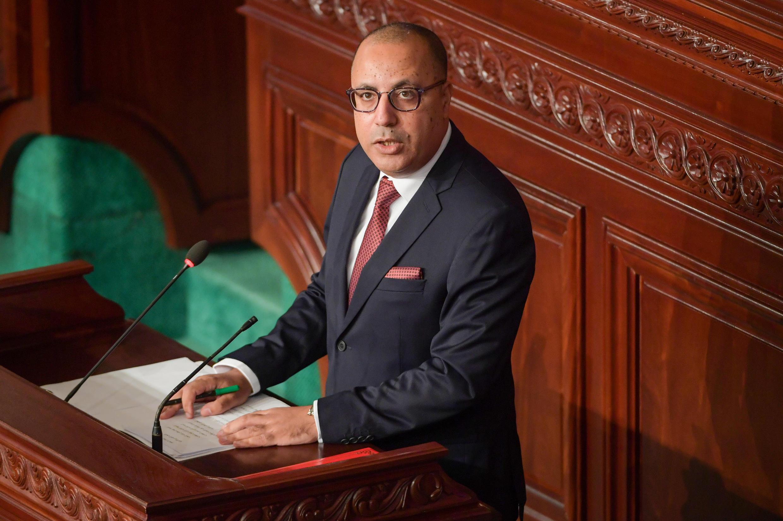Le Premier ministre tunisien, Hichem Mechichi, lors de son discours avant le vote de confiance du Parlement, le 1er septembre 2020, à Tunis.