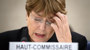 La Alta Comisionada de la ONU para los Derechos Humanos, Michelle Bachelet, pronuncia un discurso sobre Venezuela en Ginebra, Suiza el 20 de marzo de 2019.