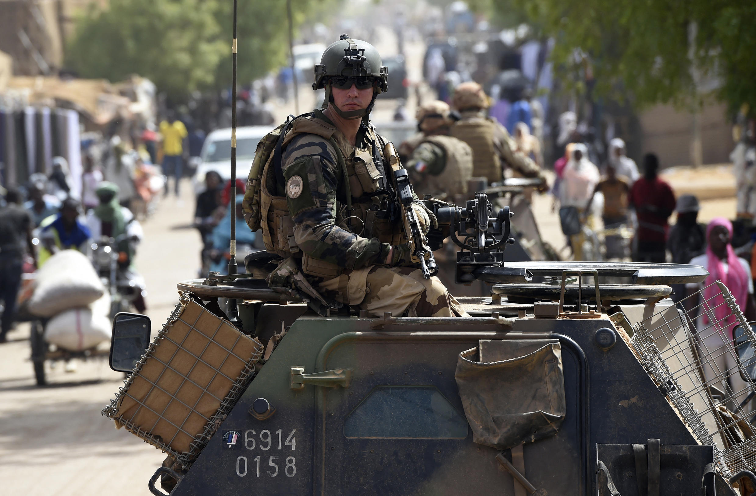 A French soldier from Operation Barkhane patrols the streets of Gao, northern Mali, on May 30, 2015.