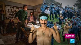 Imágenes de las películas 'Borat Subsequent Moviefilm' y 'The Trial of the Chicago 7', que abordan internacionalmente a EE. UU. antes de las elecciones.