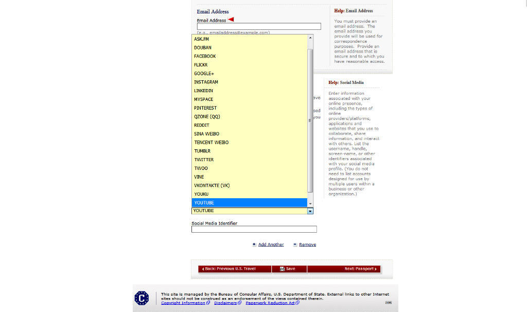 La liste des réseaux sociaux à renseigner lors d'une demande de visa