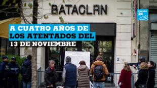Familiares de las víctimas rinden tributo a los fallecidos en los atentados del 13 de noviembre de 2015, cuatro años después. París, Francia, el 13 de noviembre de 2019.
