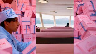 En arrière fond : The Grand Budapest Hotel ; photo de l'intérieur d'un ferry sur le lac Ashi au Japon