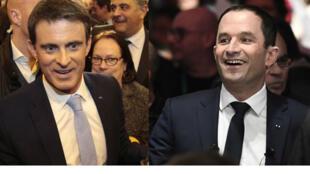 Manuel Valls et Benoît Hamon en meeting le 26 janvier 2017.