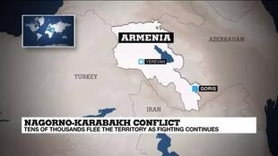 2020-10-09 10:09 Tens of thousands flee Nagorno-Karabakh as fighting continues
