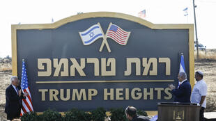 "Benjamin Netanyahu et l'ambassadeur américain en Israël, David Friedman, lors de l'inauguration de la ""colline Trump"" dans le Golan, le 16 juin 2019."