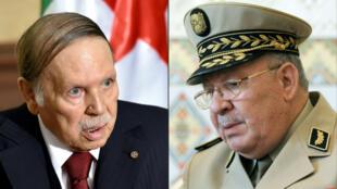 Le président algérien Abdelaziz Bouteflika et le chef d'État-major de l'armée algérienne, Ahmed Gaïd Salah.
