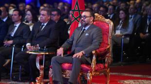Le roi du Maroc Mohammed VI, pendant l'inauguration d'une usine d'assemblage de PSA à Kénitra, le 20 juin 2019.