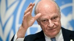 الموفد الأممي إلى سوريا ستافان دي ميستورا في جنيف في 14 كانون الأول/ديسمبر 2017
