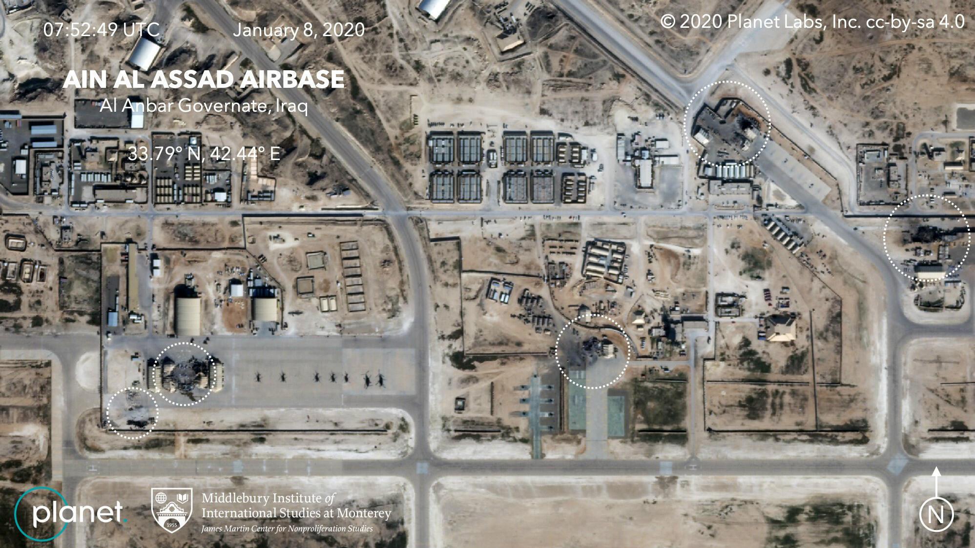 Fotografía captada por la empresa estadounidense Planet donde se muestran los daños sobre al menos cinco instalaciones en la base aérea Al Asad, en Al Anbar, Irak.