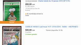 """Le premier numéro de """"Charlie Hebdo"""" après l'attentat du 7 janvier se vend à prix d'or sur eBay."""