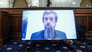 Twitter CEO Jack Dorsey gives his opening statement remotely during a  hearing to discuss reforming Section 230 of the Communications Decency Act