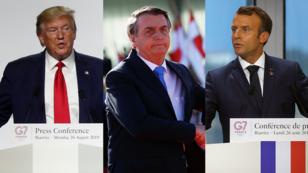 De izquierda a derecha. Los presidentes de Estados Unidos, Donald Trump; Brasil, Jair Bolsonaro; y Francia, Emmanuel Macron, ha protagonizado una disputa frente al manejo de los incendios de la Amazonía.