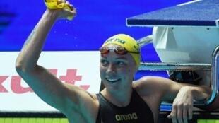 La joie de la Suédoise Sarah Sjöström après sa victoire en finale du 50 m papillon aux Mondiaux de natation, le 27 juillet 2019 à Gwangju