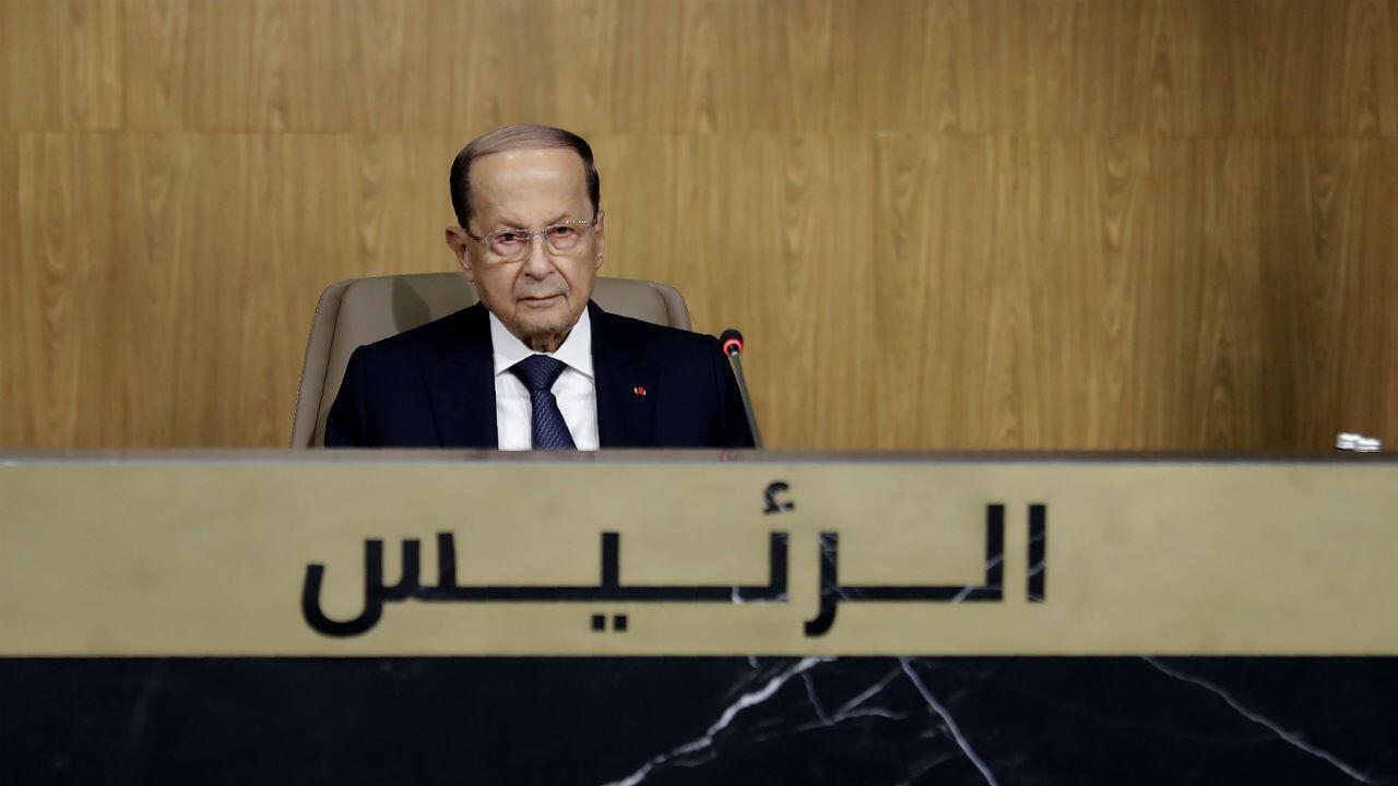 Le président libanais Michel Aoun lors du sommet économique régional à Beyrouth, au Liban, le 20 janvier 2019.