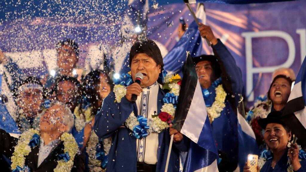 El presidente de Bolivia y actual candidato presidencial para el partido Movimiento por el Socialismo (MAS), Evo Morales, habla durante un mitin de campaña de clausura en El Alto, Bolivia, 16 de octubre de 2019.