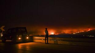 Un homme observe le feu de forêt à Ancio Leiria, au centre du Portugal, le 18 juin 2017.
