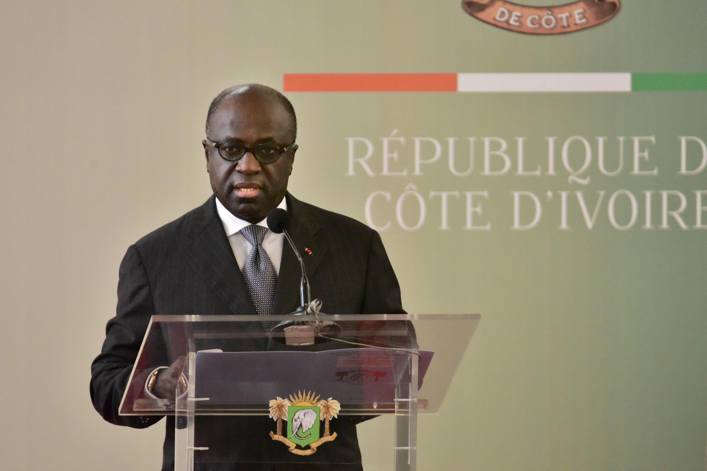Le candidat à la présidentielle en Côte d'Ivoire, Marcel Amon-Tanoh, lors d'un discours au palais présidentiel, à Abidjan, le 2 octobre 2017.