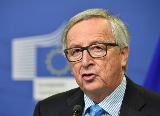 رئيس المفوضية الأوروبية جان كلود يونكر يعقد مؤتمرا صحافيا في مقر الاتحاد الأوروبي في بروكسل في 31 ك2/يناير 2018