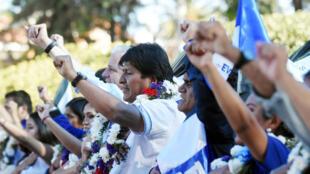 El presidente de Bolivia, Evo Morales, durante un mitin de campaña en Sucre, Bolivia, el 12 de octubre de 2019.