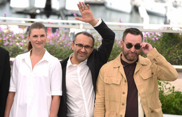"Russian director Andrey Zvyagintsev and ""Loveless"" actors Maryana Spivak and Alexey Rozin at the Cannes photocall on Thursday."