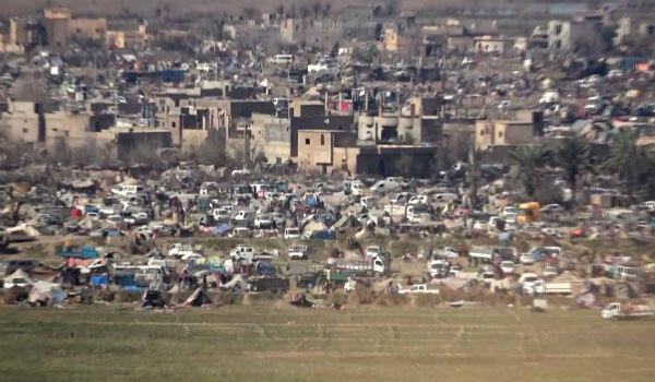 This handout image grab from a video released by the Free Burma Rangers on March 7, 2019 shows a makeshift camp in the IS group's last patch of territory in Baghouz.