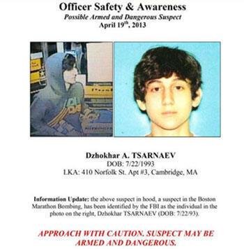 L'avis de recherche de Dzhokhar Tsarnaev