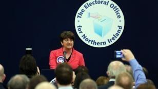 زعيمة الحزب الوحدوي الديمقراطي في إيرلندا الشمالية أرلين فوستر في 3 آذار/مارس 2017