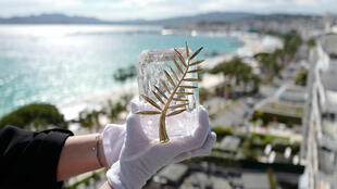 La Palme d'Or de la 72ème édition du Festival de Cannes, photographiée depuis l'hôtel Martinez, le 13 mai 2019