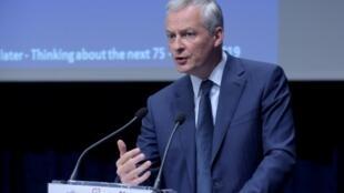 Le ministre des Finances Bruno Le Maire, dans les locaux de la Banque de France à Paris le 16 juillet 2019