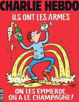 "Charlie Hebdo's take on the Nov. 13 attacks in Paris: ""They [the terrorists] have the weapons. Screw them, we have the champagne!"""
