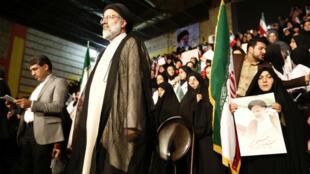 Le candidat ultraconservateur Ebrahim Raissi, lors d'un meeting à Téhéran le 29 avril 2017.