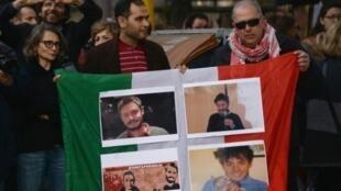 صور الطالب الإيطالي خلال وقفة أمام السفارة المصرية في القاهرة 25 فبراير 2016