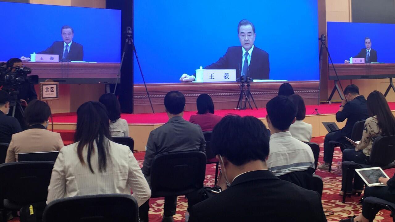 El ministro de Asuntos Exteriores de China, Wang Yi, durante una conferencia de prensa realizada en el marco de la Asamblea Nacional Popular. 24 de mayo de 2020.