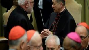 الكاردينال رينهاد ماركس (من اليمين) ينتظر وصول البابا للمؤتمر بشأن حماية الأطفال من الانتهاكات الجنسية 23 فبراير/شباط 2019