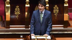 Le Premier ministre canadien Justin Trudeau s'est exprimé le  17 avril 2018 devant l'Assemblée nationale.