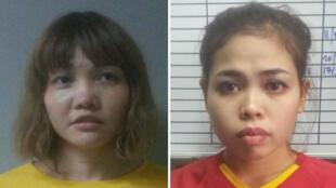 Doan Thi Huong (G) et Siti Aisyah (D) vont être inculpées mercredi 1er mars pour l'assassinat de Kim Jong-nam.