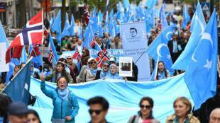 """Les Ouïghours avaient manifesté en avril 2018 à Bruxelles pour demander la fermeture des """"camps de rééducation"""" chinois."""